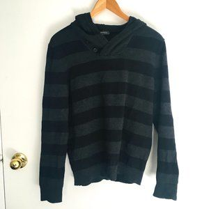 Express Men's Hooded Striped Sweater Size Medium